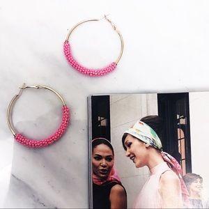 • Candy Pink Beaded Summer Festival Hoop Earrings